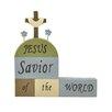 """Blossom Bucket Decorative """"Jesus Savior"""" Blocks with Cross"""