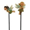 Blossom Bucket 2 Piece Flying Fairies on Stakes Figurine Set