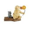 Blossom Bucket Bunny & Mouse Figurine on Log