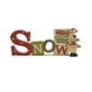 Blossom Bucket Snow with Stacked Snowmen Figurine