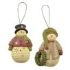 Blossom Bucket 2 Piece Snowmen with Sweater and Wreath Ornament Set