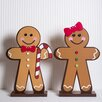 Adams & Co Boy and Girl on Stand 2 Piece Wood Gingerbread Set