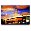 <strong>Golden Gate Lights Painting Print on Canvas</strong> by Artefx Decor