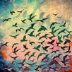 Salty & Sweet 'Flock of Seagulls Orange' Graphic Art on Canvas