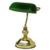 Dennis Bankers Touch Lamp in Antique Brass / Dark Green Glorious Lighting