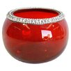 <strong>Round Medium Votive Holder in Red Clear</strong> by Heritage India Imports