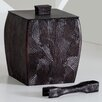 Natori Woodgrain Ice Bucket with Tong with Lid and Liner