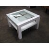 Square Glass Top Lamp Table in White or Black Fresh Furniture