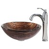 Kraus Gaia Glass Vessel Sink with Riviera Faucet