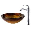 <strong>Midas Glass Vessel Sink with Ventus Faucet</strong> by Kraus