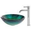 Kraus Nei Glass Vessel Sink with Ramus Faucet