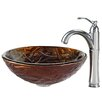 <strong>Kraus</strong> Dryad Glass Vessel Sink with Riviera Faucet