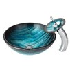 Kraus Ladon Glass Vessel Sink with Waterfall Faucet