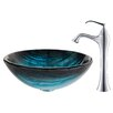 <strong>Kraus</strong> Ladon Glass Vessel Sink with Ventus Faucet