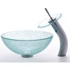 """<strong>Broken Glass 14"""" Vessel Sink and Waterfall Faucet</strong> by Kraus"""