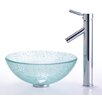 "Kraus Broken Glass 14"" Vessel Sink and Sheven Faucet"