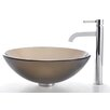 <strong>Kraus</strong> Frosted Brown Glass Vessel Sink and Ramus Faucet