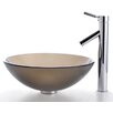 Kraus Frosted Brown Glass Vessel Sink and Sheven Faucet