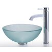 "Kraus Frosted 14"" Glass Vessel Sink and Ramus Faucet"
