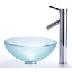 "Kraus Frosted 14"" Glass Vessel Sink and Sheven Faucet"