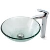 Kraus Clear Glass Vessel Sink and Visio Bathroom Faucet in Chrome