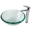 <strong>Kraus</strong> Clear Glass 19 mm Vessel Sink and Visio Bathroom Faucet in Chrome