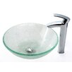 Kraus Broken Glass Vessel Sink and Visio Bathroom Faucet in Chrome