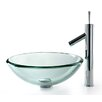 Kraus Clear 19mm Thick Glass Vessel Sink and Sheven Faucet