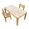 Hardwood Rectangular Table with 2 Stacking Chairs Q Toys