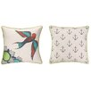 <strong>Sarah Watts</strong> Floral Bird Reversible Printed and Embroidered Pillow