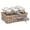 KitchenCraft Home Made 70ml Storage Jars with Ceramic Lids and Willow Basket