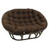 International Caravan Rattan Double Papasan Chair with Micro Suede Cushion