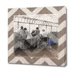 Obvious Place Vintage People on Rooftop Beige Chevron Graphic Art on Canvas