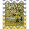 <strong>Obvious Place</strong> Autumn Tree Gray and Yellow Chevron Painting Print on Canvas
