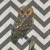 <strong>Owl with Orange Glasses Gray Chevron Graphic Art on Canvas</strong> by Obvious Place