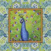 Obvious Place My Friendly Peacock Graphic Art on Canvas in Blue, Green and Orange