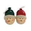 Craft Outlet Snowman Heads with Fabric Beanie Ornament (Set of 6)