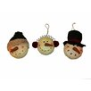 Craft Outlet Snowman Head Ornament (Set of 3)