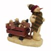 Craft Outlet Snowman Pulling Wooden Cart of Snowman Babies and Friends
