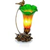 """River of Goods Handblown Glass Cardinal Lily Accent 10"""" H Table Lamp with Bell Shade"""