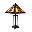"""River of Goods Southwestern Stained Glass Mission Style 26"""" Table Lamp  with Square Shade"""