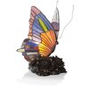 """River of Goods Stained Glass Butterfly 9"""" Accent Table Lamp"""