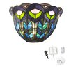 River of Goods Peacock Stained Glass LED Wall Sconce