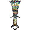 """River of Goods Stained Glass Feathered Peacock 43"""" Floor Lamp"""