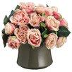 Silk Flower Depot Cabbage Rose inCeramic Pot