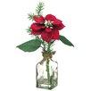 """Silk Flower Depot 10"""" Poinsettia/Berry in Glass Vase"""
