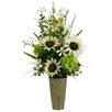 Silk Flower Depot Sunflower/Hydrangeain Paper Mache Pot