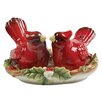 Kaldun & Bogle Christmas Cardinal Salt and Pepper Set with Tray