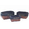Baum 3 Piece Basket with Embroidered Liner Set