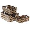 Baum 3 Piece Braided Rush Storage Basket Set